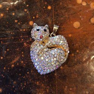NWOT Betsey Johnson Cat Heart Charm Rhinestone